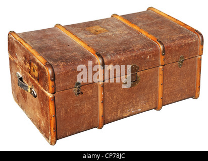 The old chest used to transport clothes on long journeys - Stock Photo