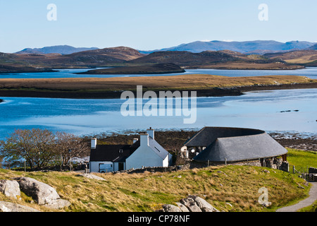 Landscape, Callanish standing stones visitor centre and Loch Ceann Huabhig - Stock Photo