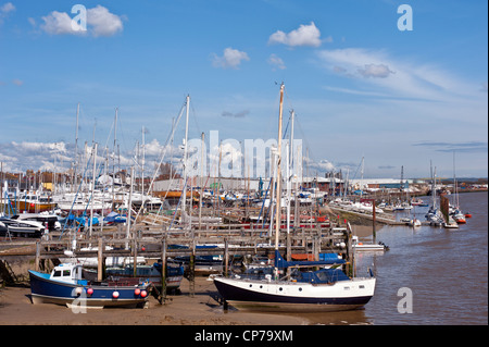 Boats moored on the River Adur by Shoreham, West Sussex - Stock Photo