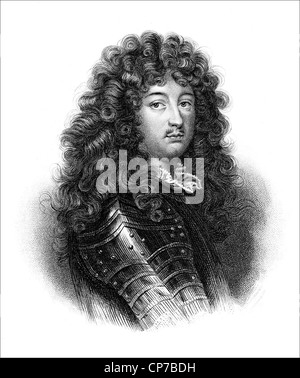 Engraved portrait of King Louis XIV of France. Published in book, The Vicomte of Bragelonne by Alexandre Dumas between - Stock Photo