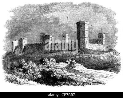 Engraving of Oxford castle pictured in 15th century, Oxfordshire, England. - Stock Photo