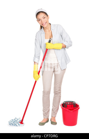 Full length of multicultural Chinese Asian / Caucasian woman washing floor with mop and bucket isolated on white - Stock Photo