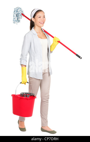 Full length of multiracial Chinese Asian / Caucasian housewife with mop and bucket walking isolated on white background - Stock Photo
