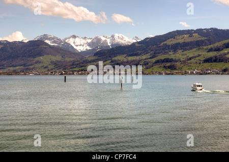 Upper Lake, Lake Zurich, Rapperswil, St. Gallen, Switzerland - Stock Photo