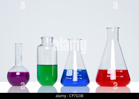 Photo of chemicals in glass flasks and beakers - Stock Photo
