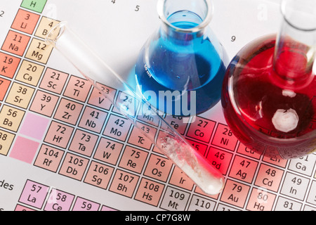 Photo of a periodic table of the elements with flasks and test tube containing chemicals both liquid and powder. - Stock Photo