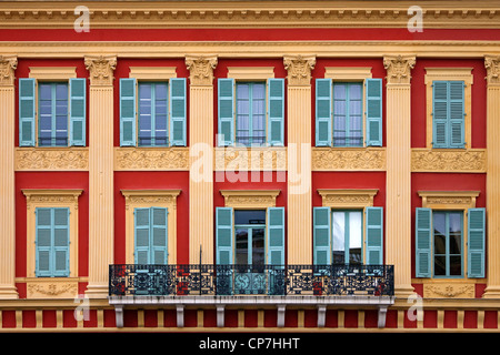 Balcony and building detail, in Place Massena, Nice, Cote d'Azur, France - Stock Photo