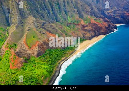 Helicopter view over Napali coastline. Kauai, Hawaii - Stock Photo