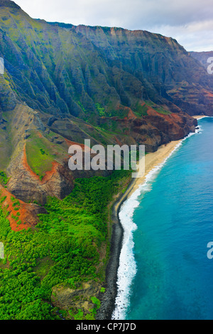 Helicopter view over Napali coastline. Kauai, Hawaii - Stock Photo