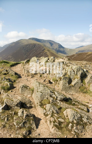 Sail and Crag Hill, as seen from Causey Pike. English Lake District, UK. - Stock Photo