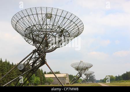 Parabolic radio antennas at Westerbork in the Netherlands. Westerbork Synthesis Radio Telescope (WSRT) - Stock Photo