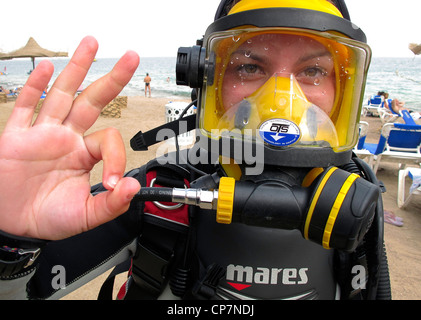 SCUBA Diver with Full Face Mask - Stock Photo