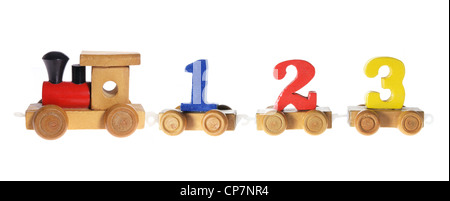 Wooden Train Carriages with Numbers - Stock Photo