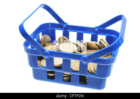 Basket of Coins - Stock Photo