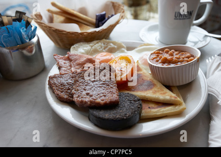 traditional scottish breakfast served in a cafe in Scotland UK - Stock Photo