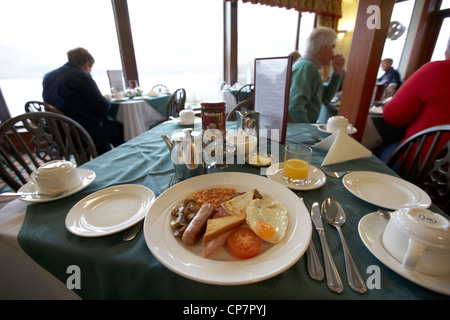 traditional scottish breakfast served in a hotel restaurant in Scotland UK - Stock Photo