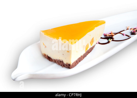 A slice of the delicacy cheese cake on dish with clipping path, isolated on white background. - Stock Photo