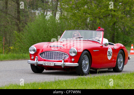 Vintage car Austin Healey 3000 MK1 from 1960 at Grand Prix in Mutschellen, SUI on April 29, 2012. - Stock Photo