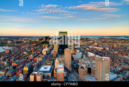 aerial view of downtown boston from back bay