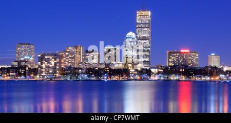 Skyline of landmark high rises in Back Bay, Boston, Massachusetts - Stock Photo