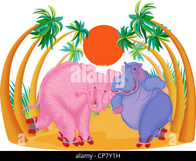 Cute blue hippo and pink elephant riding on roller skates. - Stock Photo