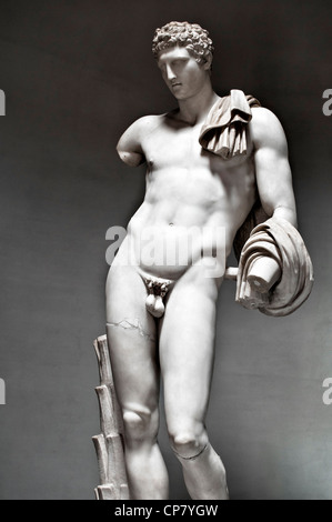 Sculpture of the Hermes Belvedere  also known as 'Antinous Belvedere' in the Pio-Clementine Museum ,Vatican museums - Stock Photo