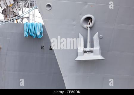 A US Navy ship's bow and anchor - Alameda, California USA - Stock Photo
