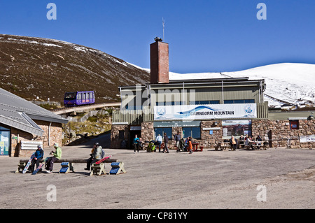 Cairngorm Mountain lower railway installation on Cairn Gorm in Cairngorms National Park Scotland with funicular - Stock Photo