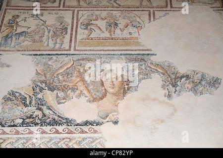 Dionysus Mosaic, Mosaic floor of the roman villa The 'Mona Lisa of the Galilee' - Stock Photo