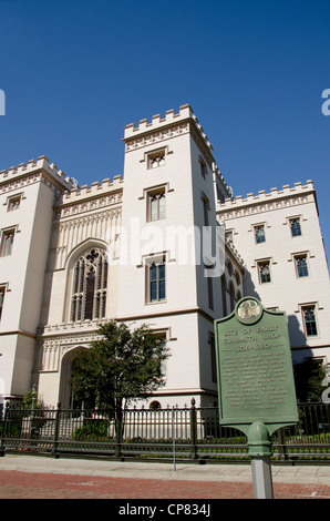 Louisiana, Baton Rouge. Louisiana Old State Capitol, circa 1847. Gothic Revival style. - Stock Photo