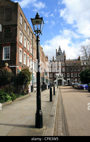 Old-fashioned, gas street lamp, New Square, Lincoln's Inn, London, UK - Stock Photo
