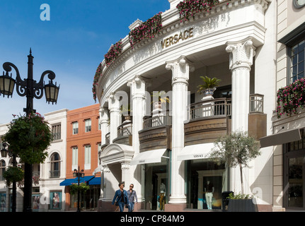 Rodeo Drive, Beverly Hills, Los Angeles, California, CA, USA - Versace luxury goods store - Stock Photo
