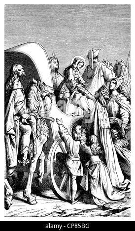 Landgravess Elizabeth of Thuringia or Elizabeth of Hungary, 1207 - 1231, arrival in Eisenach, Germany , historical - Stock Photo