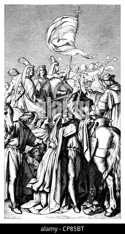 Landgravess Elizabeth of Thuringia or Elizabeth of Hungary, 1207 - 1231, saying goodbye to her husband Louis of - Stock Photo