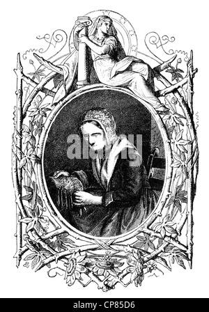 The publisher Barbara Uttmann or Uthman, 1514 - 1575, furthered the bobbin lacemaking in the Erzgebirge region, - Stock Photo