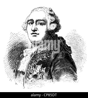 Louis XVI. Augustus of France, 1754 - 1793, King of France and Navarre, French Revolution, historical engraving, - Stock Photo