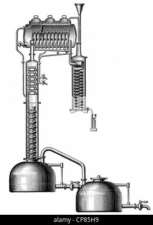 apparatus for distillation by Cellier Blumenthal, 19th Century, Historische, zeichnerische Darstellung, Apparat - Stock Photo