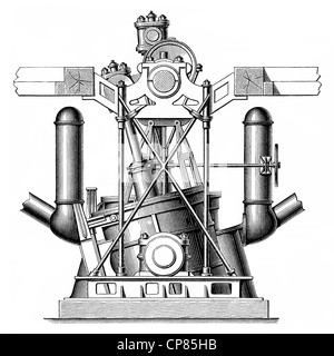 Oscillating twin boat steam engine for driving propellers, piston heat engine, the contained thermal energy or pressure - Stock Photo