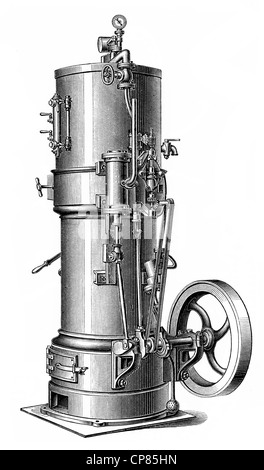 Vertical boiler steam engine, piston heat engine, the contained thermal energy or pressure contained in steam is - Stock Photo
