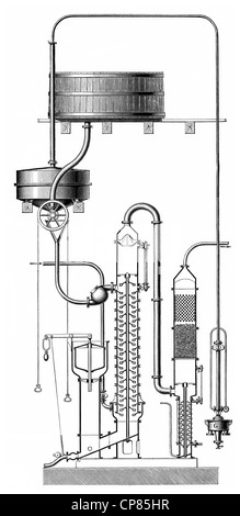 distillation apparatus by Ilges, 19th Century, Historische, zeichnerische Darstellung, Apparat zur Destillation - Stock Photo