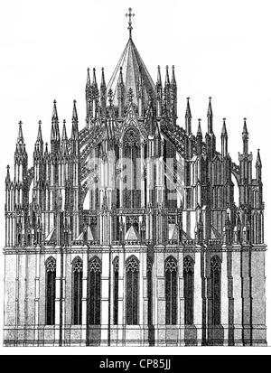 Historic illustration of Cologne Cathedral, Historische, zeichnerische Darstellung, Detail, äußere Ansicht der Chores, - Stock Photo