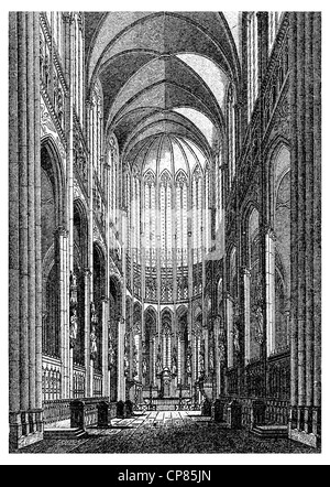 Historic illustration of Cologne Cathedral, Historic illustration of Cologne Cathedral, Historische, zeichnerische - Stock Photo