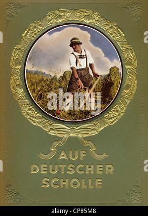 Titelseite, Auf Deutscher Scholle, Sammelbilderalbum, Zigaretten-Bilderdienst, Eckstein, Verlag Nordmark 1935, Deutschland - Stock Photo