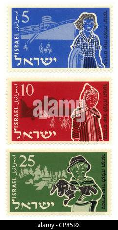 Historic postage stamps, 20th Anniversary of Youth Aliyah, the Jewish organization for the rescue of children from - Stock Photo