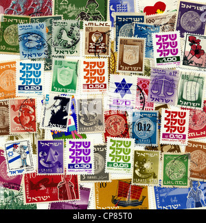 Historic postage stamps from Israel, Historische Briefmarken aus Israel - Stock Photo