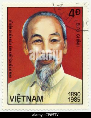 Historic postage stamps from Vietnam, Historische Briefmarken aus Vietnam, Ho Chi Minh, 1985 - Stock Photo
