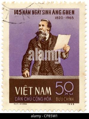 Historic postage stamps from Vietnam, Historische Briefmarken, Friedrich Engels, 1965, Vietnam, Asien - Stock Photo