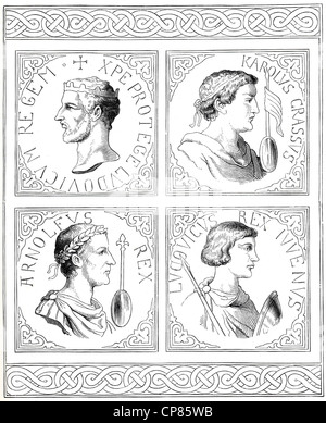 The sons of Louis the Pious, king of the Frankish kingdom, Louis the German, Louis II, Ludovicus II, 806 - 876, - Stock Photo