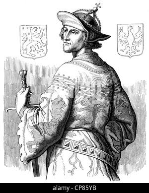 historical illustration , 19th century , Adolf von Nassau (1250 - 1298) aus dem Adelsgeschlecht der Nassauer (Walramische - Stock Photo