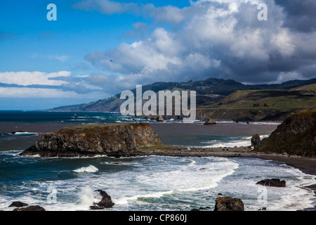 The Russian River Flows into the Pacific Ocean at Goat Rock State Beach in Northern California along Highway 1 after - Stock Photo